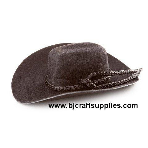 This black flocked mini cowboy hat is perfect for western decorating. Add to dolls, animals, wine bottles, use as table decorations, on wreaths, western themed events, bbq's, weddings, hair embellishments and more. Add tiny charms and decorations for a distinctively personalized look.