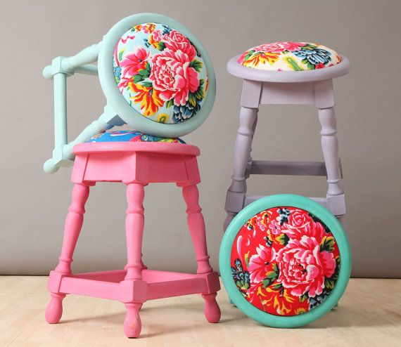 4 x colorful Peony Stools by namedesignstudio on Etsy