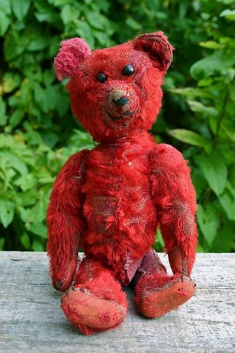 RARE OLD VINTAGE ANTIQUE SCARLET *RED* MOHAIR ENGLISH/GERMAN TEDDY BEAR c1910-20