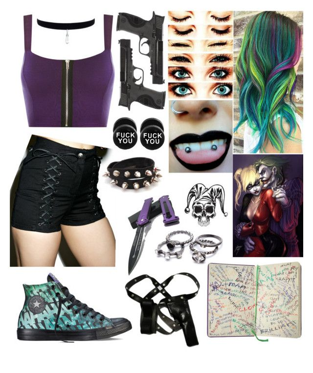 """Daughter of Harley Quinn & Joker"" by x-sweetea-x ❤ liked on Polyvore featuring Converse, WearAll, Tripp and Smith & Wesson"