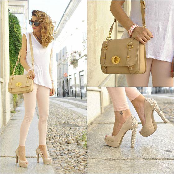 Leggings, Long shirt: Casual Outfit, Fashion Outfit Reepin, Messenger Bags, Long Shirts, Pump, Pastel Fashion, Miu Miu, Fashionoutfit Reepin, Pink Legs