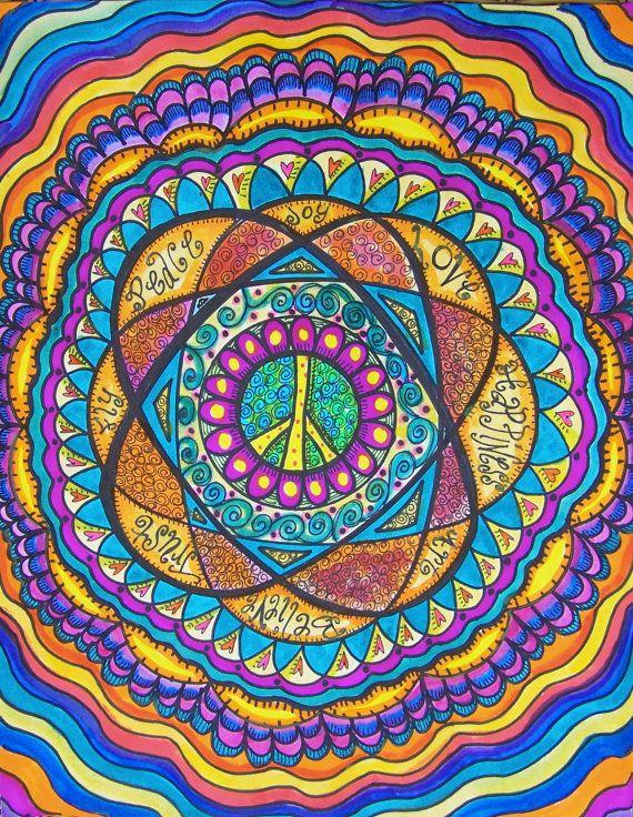 Hippie Art, Original, Words To Live By, Mandala