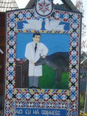 Gravestone of a veterinarian. Ioan Stan Patras, Cimitirul Vesel (The Merry Cemetery) - Săpânţa, Romania