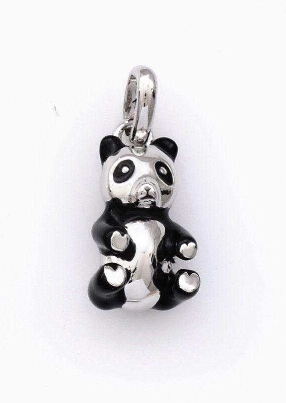 Panda Pendant Gold Plated or White Rhodium by JenniferLoveKids