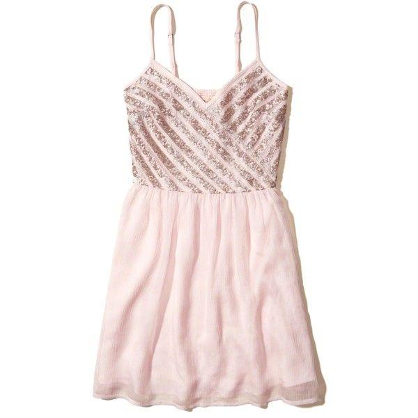 Pink Chiffon Sequin Dress