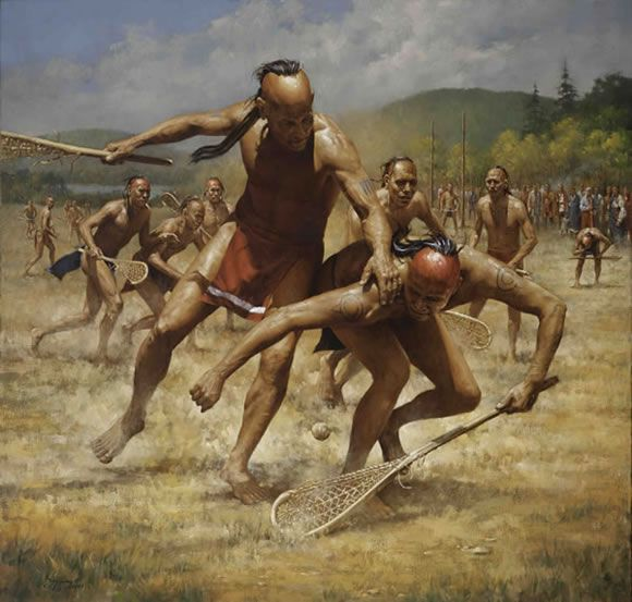 Lacrosse | painted by Robert Griffing. The game of Lacrosse has been a mainstay among the Haudenosaunee (Iroquois) tribe for centuries.