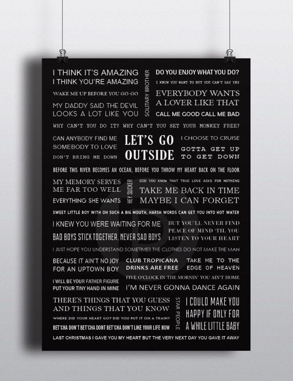 George Michael lyrics poster A3