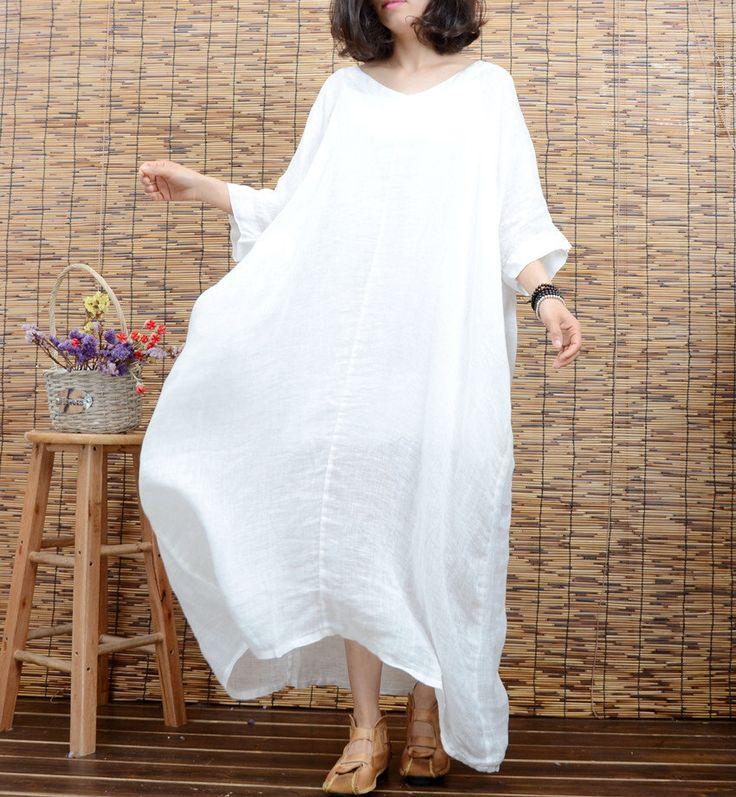 White tunic dress summer dress linen dress large size maxi dress plus size clothing short sleeve long dress beach dress women cotton dress by newstar2016 on Etsy https://www.etsy.com/listing/285650647/white-tunic-dress-summer-dress-linen