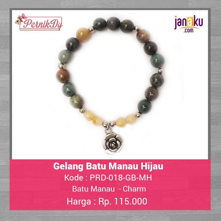 Gelang Batu Manau Hijau -  Pernikdy -  IDR 115.000 - Batu Manau 88 mm dengan charm cantik  Lingkar 17 cm