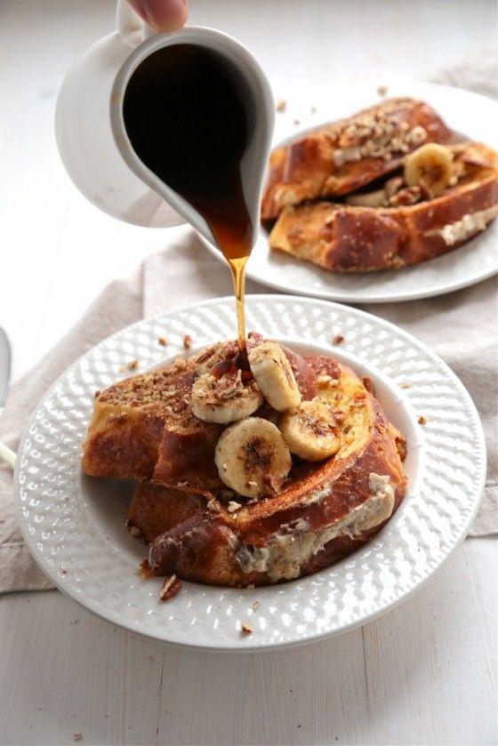 Bourbon Banana Nut Stuffed French Toast - www.countrycleaver.com