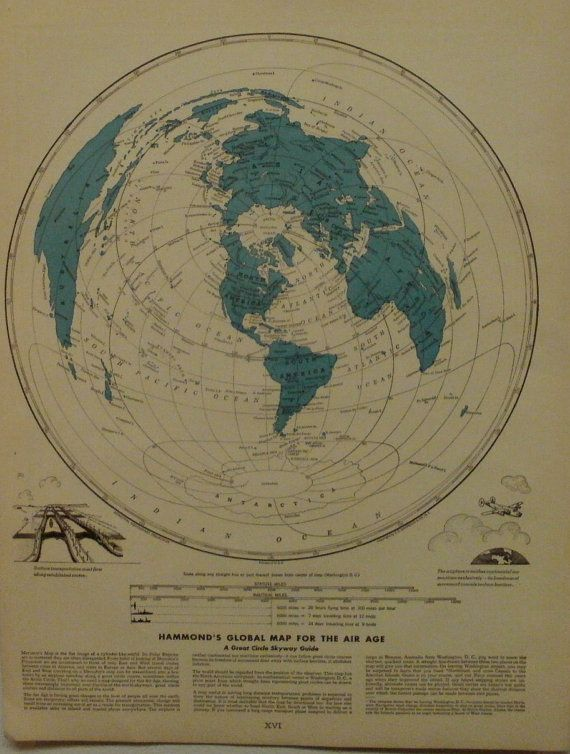 World Map Global Map For The Air Age Vintage Maps Antique Maps 1947