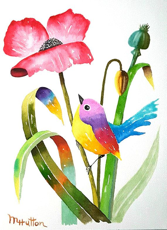 Original Watercolor Painting Birds And Flowers Curious Bird Art