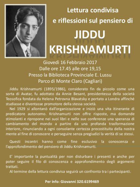 Giovedì 16 febbraio, dalle ore 17.45 alle ore 19.15, nella sala conferenze della Biblioteca Emilio Lussu è in programma una lettura condivisa sul pensiero di Jiddu Krishnamurti. L'incontro fa…