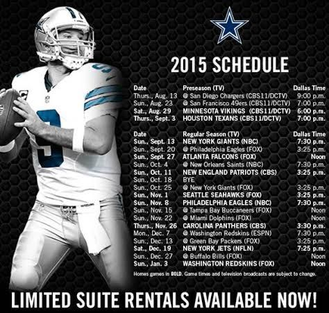 The schedule is here! Repin if you're ready for the season! #DallasCowboys