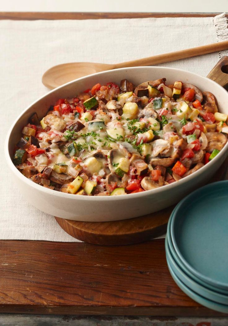 Italian Veggie Bake — This better-for-you baked veggie casserole gets big flavor from Italian dressing and Parmesan cheese.