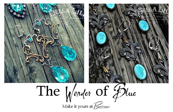 The Wonder of Blue...the element of water and ruled by the moon, the color of blue offers calm intellect, wisdom, protection, and a stillness that comes from deep balance. Wear your Truth and invoke the Wonder of Blue with these gorgeous Victorian Couture and French Shabby Chic earrings in gorgeous Swarovski crystal shades of blue. On Sale Now - Make it Yours at Devious Chix™ Boutique™!