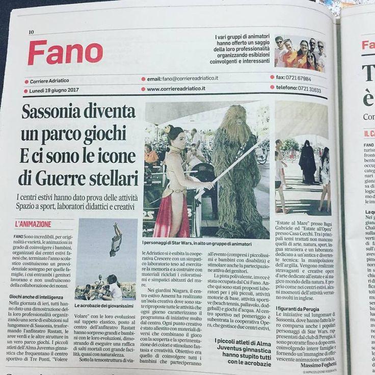 """""""Attacco in Sassonia"""", Centri Estivi Day, l'articolo del Corriere Adriatico sull'evento organizzato per i centri estivi, con presenza dei figuranti a tema Star Wars."""