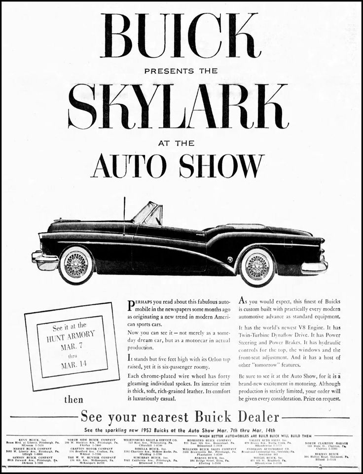 Vintage Advertising For The 1953 Buick Skylark Automobile In The Pittsburgh Press Newspaper, March 8, 1953
