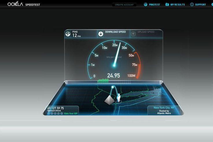 Screenshot of an Internet speed test at Speedtest.net