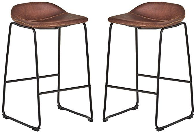 Excellent Rivet Mid Century 2 Pack No Back Bar Stools 32 3H Brown Uwap Interior Chair Design Uwaporg