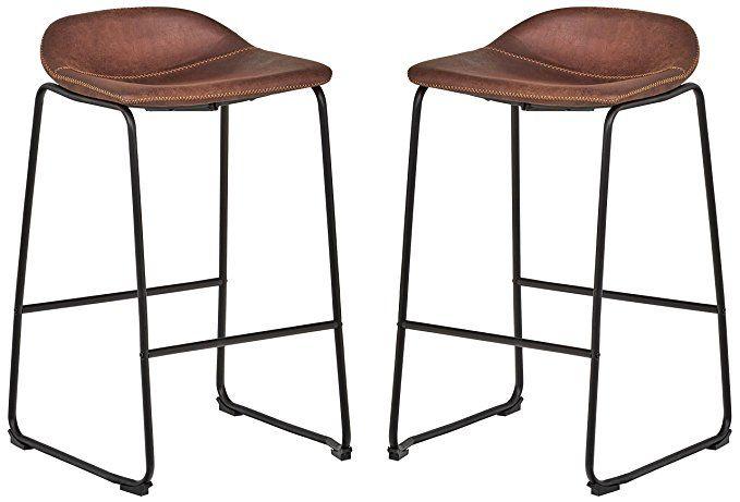 Rivet Mid Century 2 Pack No Back Bar Stools 32 3 H Brown Bar Stools Counter Bar Stools Mid Century Bar Stools