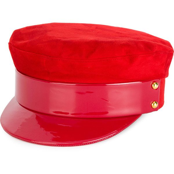 Manokhi military hat (46.185 RUB) ❤ liked on Polyvore featuring accessories, hats, red, military hats, military style hats and red hat