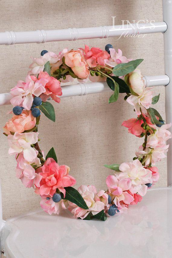 Wedding Bridal Crown-Adult Headband-Boho Flower Crown-Wedding Crown-Floral Crown-Blush Coral Flower Crown-Wedding Headpiece HFX007-PNK