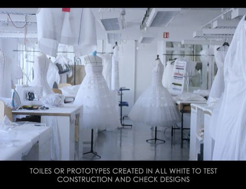 Ribboned Pleats at Dior Haute Couture | The Cutting Class. Christian Dior, Haute Couture, SS15, Paris, Video Still 1. White toiles in the Dior atelier.