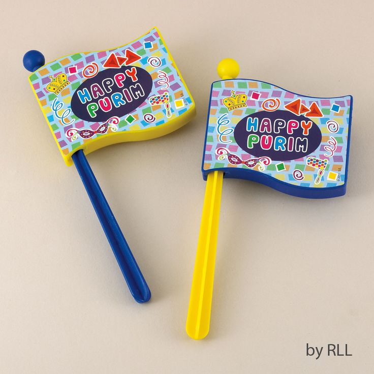 'Happy Purim' Flag Graggers, 24/Display Assorted Colors