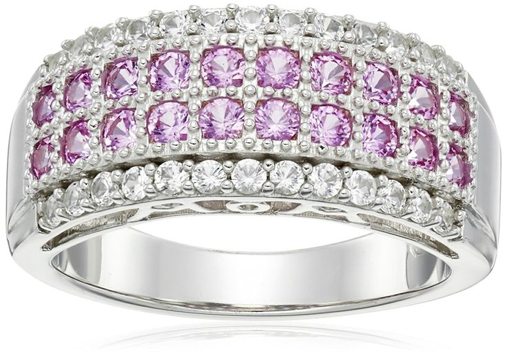 Sterling Silver Created Pink and White Sapphire 'Mom' Gallery Ring, Size 7 >>> Check out this great product.