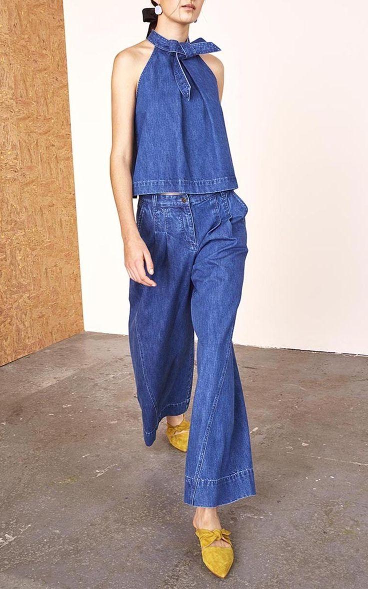 Denim Halter Top and Wide Leg Trouser by Ulla Johnson | Moda Operandi