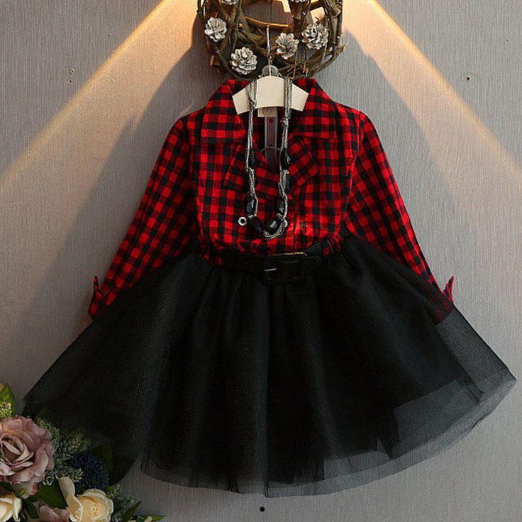 Red Tutu Dress for Toddler Girls Checkered Christmas