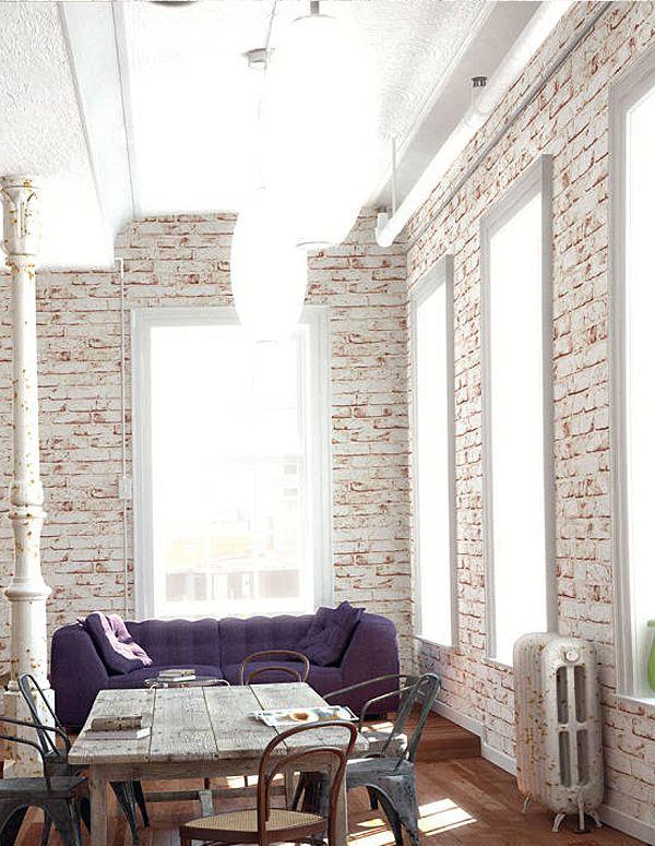 Die besten 25+ Ziegel tapete Ideen auf Pinterest Backstein - backstein tapete wohnzimmer