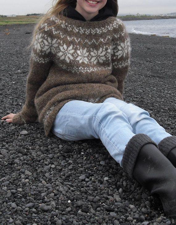 Icelandic Sweater, Lopapeysa, Handmade, 100 % pure Wool, Custom made, Brown, White