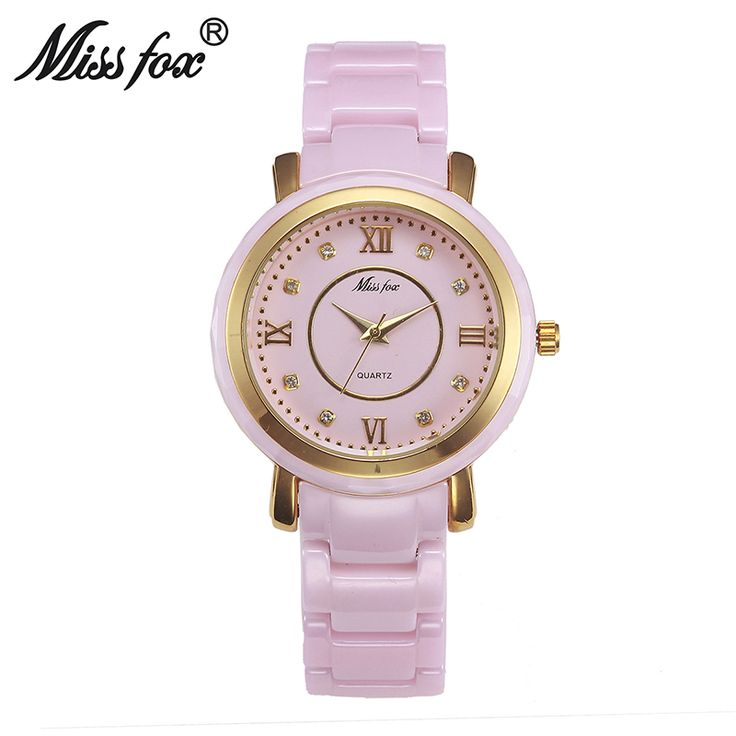 awesome 20pcs/lot Bulk Miss Fox-T002 DHL Free Shipping Pink Ceramic Watches For Women Dress Waterproof Famous Brand Ladies Wrist Watches