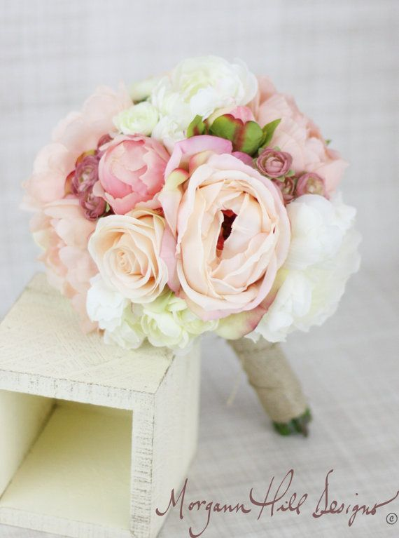 Silk Bridesmaid Bouquet Peony Peonies Roses Ranunculus Country Wedding Lace (Item Number 130111) on Etsy, $69.00