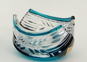 a caesar crystal azure teal bowl hand cut to clear overlay czech bohemian cased