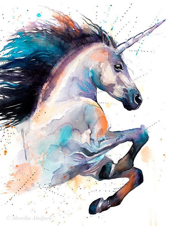 Unicorn Watercolor Painting Print By Slaveika Aladjova Art