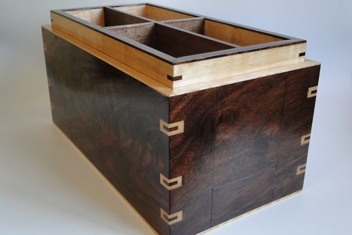 Walnut And Curly Maple Men's Watch Box With Hidden Drawer And Removable Tray, Secret Compartment