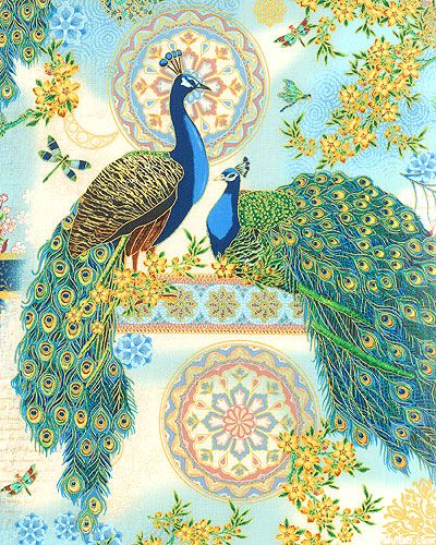 Rare Birds in Sky Blue/Gold from the 'Royal Peacocks' collection by Punch Studio for Hoffman Fabrics