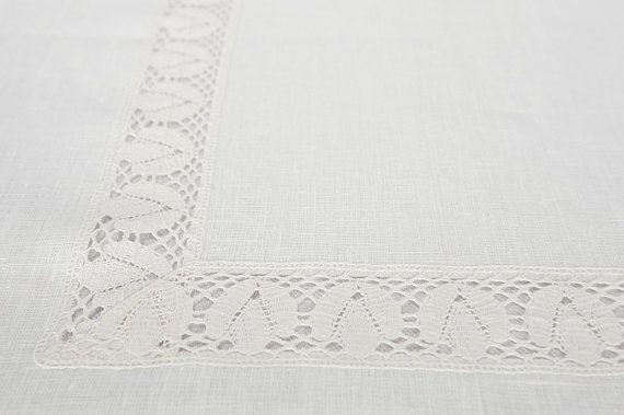 Tovaglia in lino bianco. Bianco puro lino nozze tovaglia decorata con pizzo. Naturel lino lino / tela da imballaggio  ✿ ✿ Puro naturale ✿ Eco-friendly