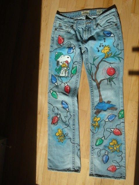 Personalizado pintado a mano Snoopy Navidad Jeans por scatterbirdie
