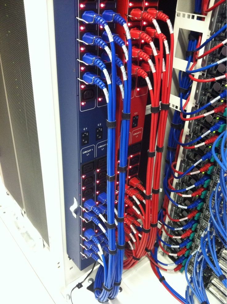 """cableporn-blog: """" Quad PDU feeding red and blue IEC cables denoting primary and secondary loads. Somebody has got a nice budget. """""""
