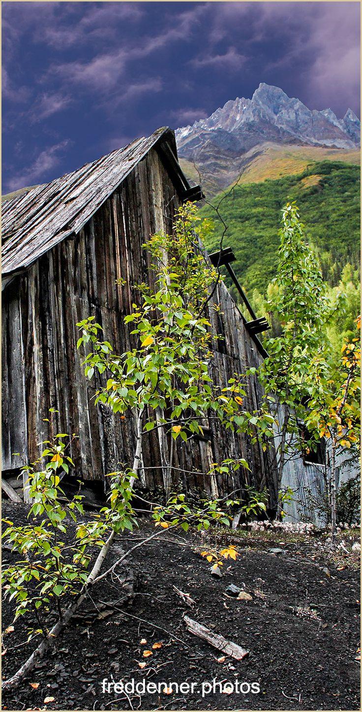 Compressor shack at Dan Creek, Williams Peak top right in Wrangell St. Elias National Park, Alaska.  │  alaska, alaska wilderness, wrangell st elias national park, historic, landscape, alaska mountains, alaska wilderness prints and posters for sale, fred denner