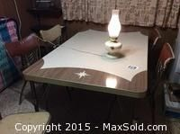 Chrome Kitchen Table Chairs & lamp