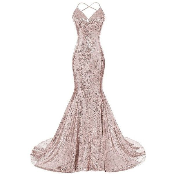 DYS Women's Sequins Mermaid Prom Dress Spaghetti Straps V Neck... ❤ liked on Polyvore featuring dresses, gowns, white homecoming dresses, white sequined dress, white ball gowns, white evening dresses and white dresses