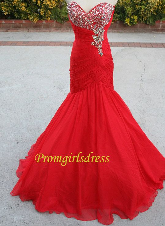 Long Prom Dress Lace Red Prom Dress Red Prom by Promgirlsdress, $169.00