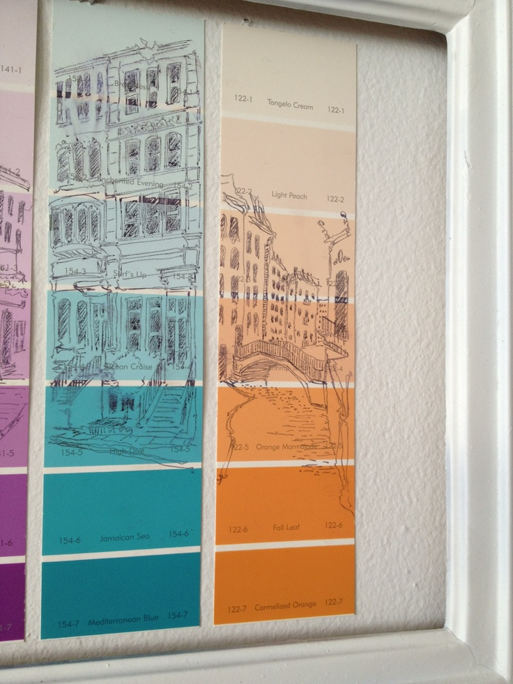 long vertical sketches of city streets and buildings on paint sample strips.