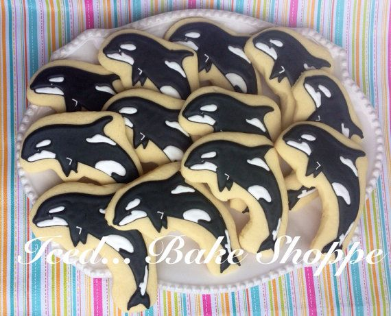 Orca hand decorated sugar cookies  1 dozen by IcedBakeShoppe, $38.00