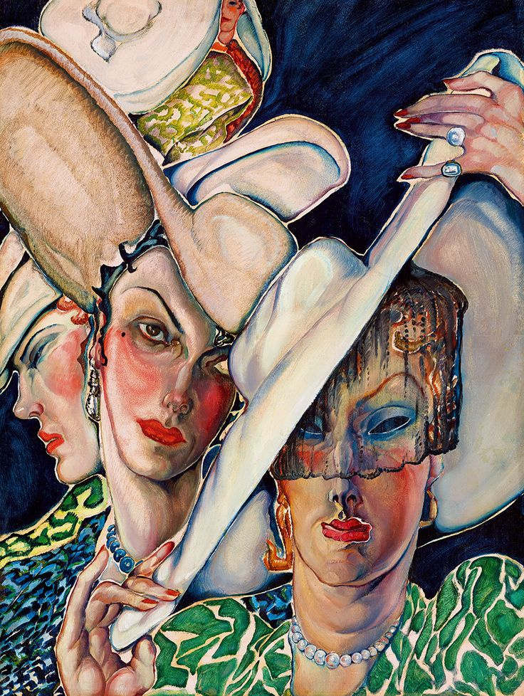 Batthyány Gyula - 1930's fashion, art deco painting representing women with hats